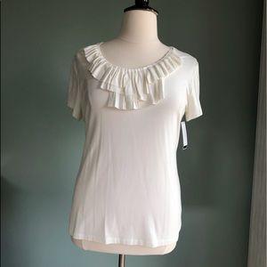 Soft Alfani cream jersey shirt w ruffle XL